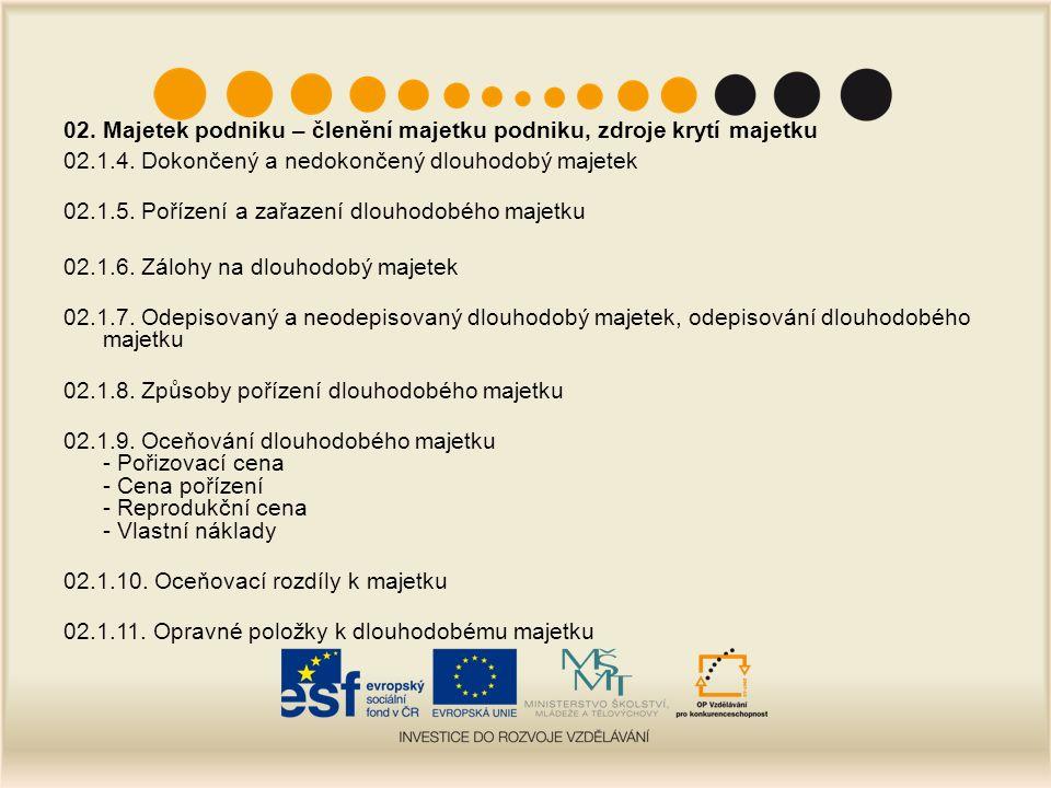 02.Majetek podniku – členění majetku podniku, zdroje krytí majetku 02.2.