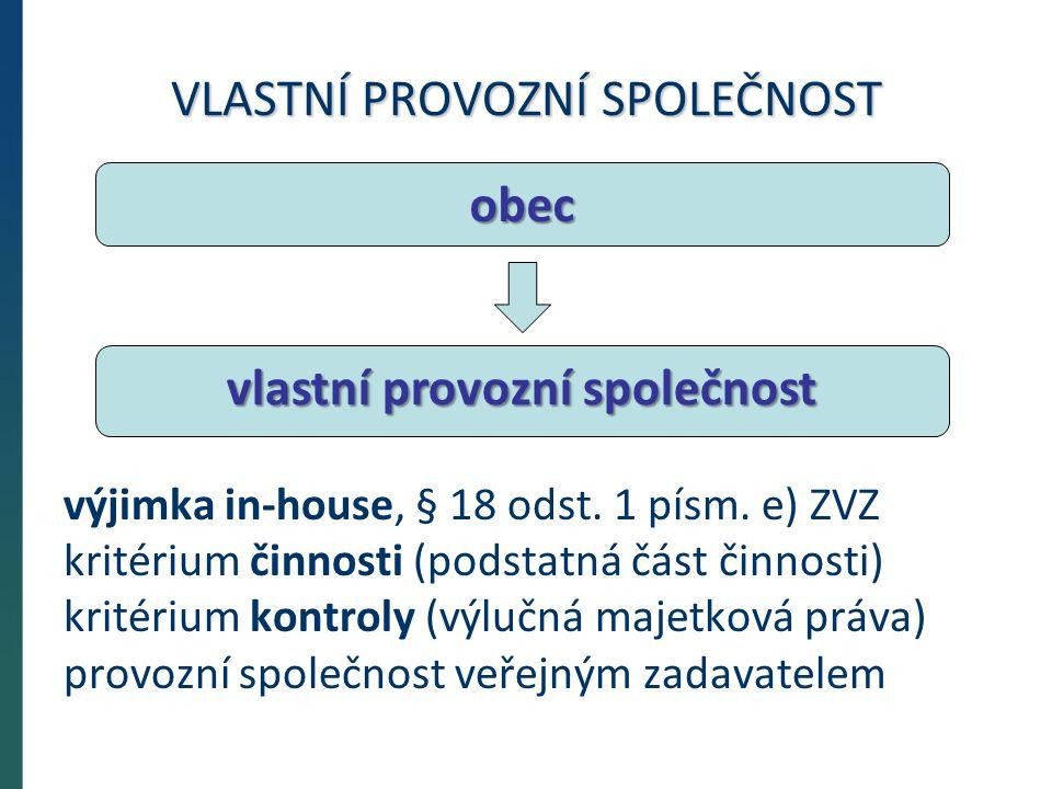 VLASTNÍ PROVOZNÍ SPOLEČNOST výjimka in-house, § 18 odst.
