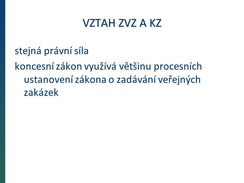 VZTAH ZVZ A KZ stejná právní síla koncesní zákon využívá většinu procesních ustanovení zákona o zadávání veřejných zakázek