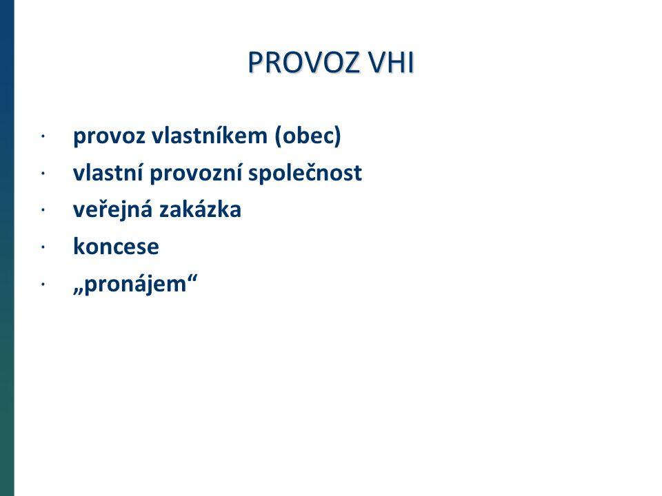 """PROVOZ VHI ·provoz vlastníkem (obec) ·vlastní provozní společnost ·veřejná zakázka ·koncese ·""""pronájem"""
