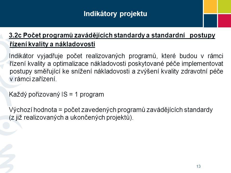 13 Indikátory projektu 3.2c Počet programů zavádějících standardy a standardní postupy řízení kvality a nákladovosti Indikátor vyjadřuje počet realizo