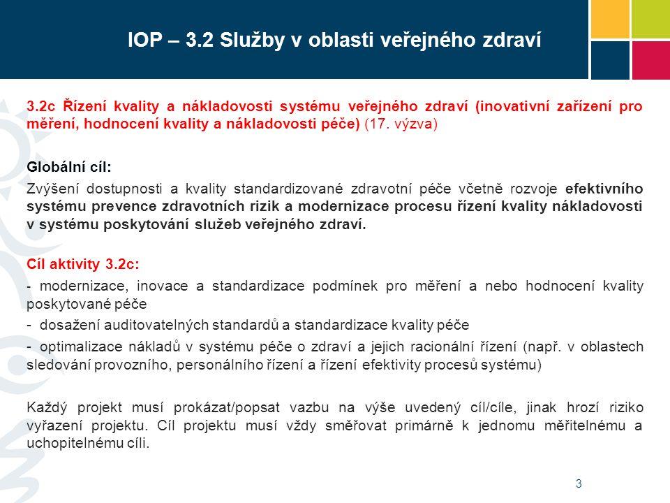 3 3.2c Řízení kvality a nákladovosti systému veřejného zdraví (inovativní zařízení pro měření, hodnocení kvality a nákladovosti péče) (17.