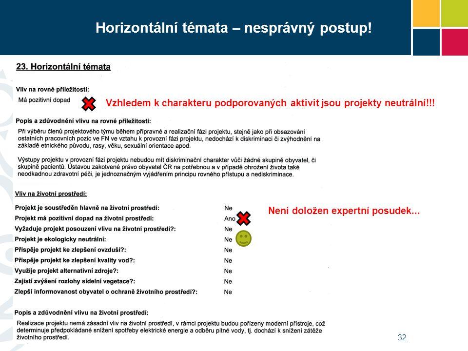 Horizontální témata – nesprávný postup! 32 Vzhledem k charakteru podporovaných aktivit jsou projekty neutrální!!! Není doložen expertní posudek...