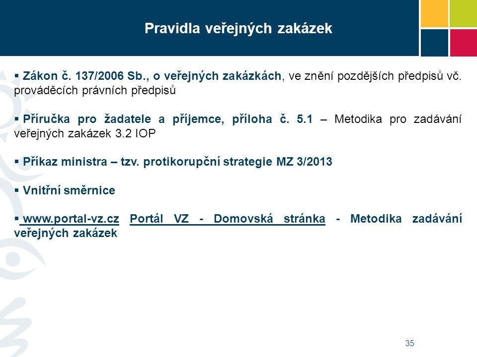 35 Pravidla veřejných zakázek  Zákon č. 137/2006 Sb., o veřejných zakázkách, ve znění pozdějších předpisů vč. prováděcích právních předpisů  Příručk