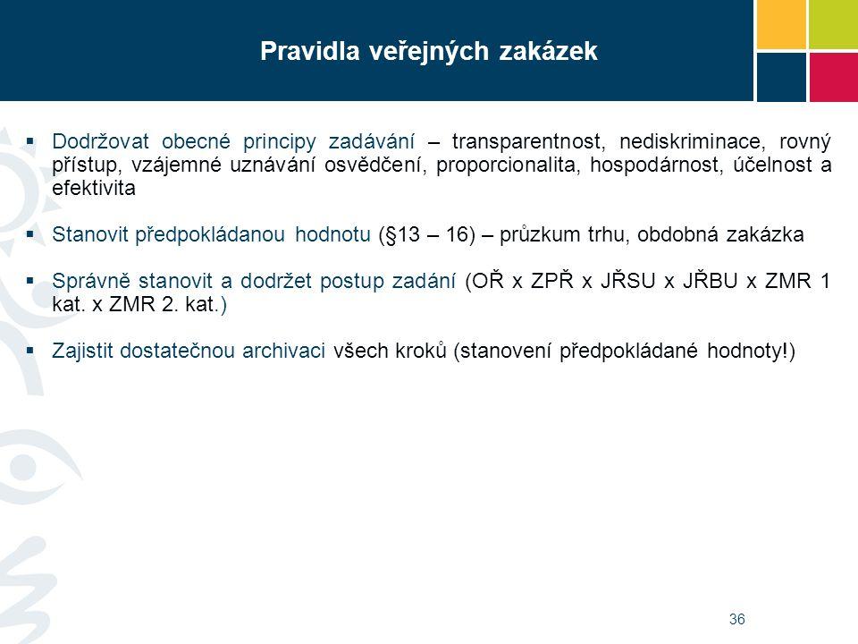 36 Pravidla veřejných zakázek  Dodržovat obecné principy zadávání – transparentnost, nediskriminace, rovný přístup, vzájemné uznávání osvědčení, proporcionalita, hospodárnost, účelnost a efektivita  Stanovit předpokládanou hodnotu (§13 – 16) – průzkum trhu, obdobná zakázka  Správně stanovit a dodržet postup zadání (OŘ x ZPŘ x JŘSU x JŘBU x ZMR 1 kat.