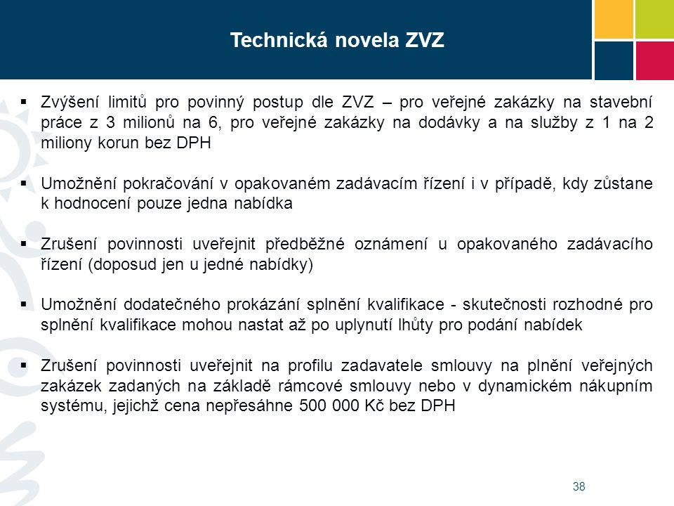 38 Technická novela ZVZ  Zvýšení limitů pro povinný postup dle ZVZ – pro veřejné zakázky na stavební práce z 3 milionů na 6, pro veřejné zakázky na d