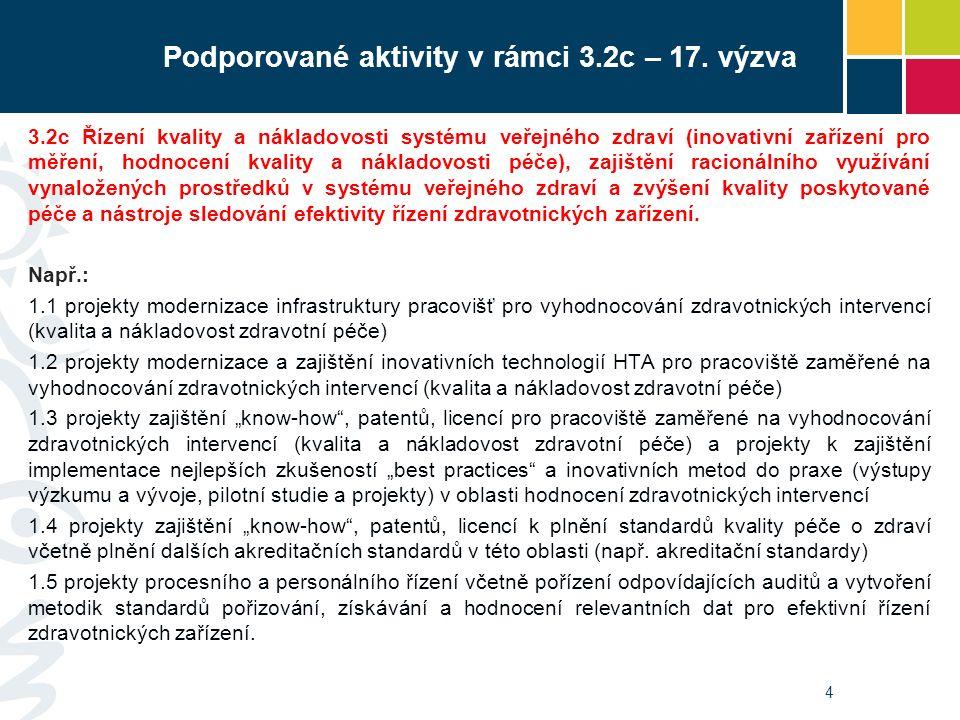4 Podporované aktivity v rámci 3.2c – 17. výzva 3.2c Řízení kvality a nákladovosti systému veřejného zdraví (inovativní zařízení pro měření, hodnocení
