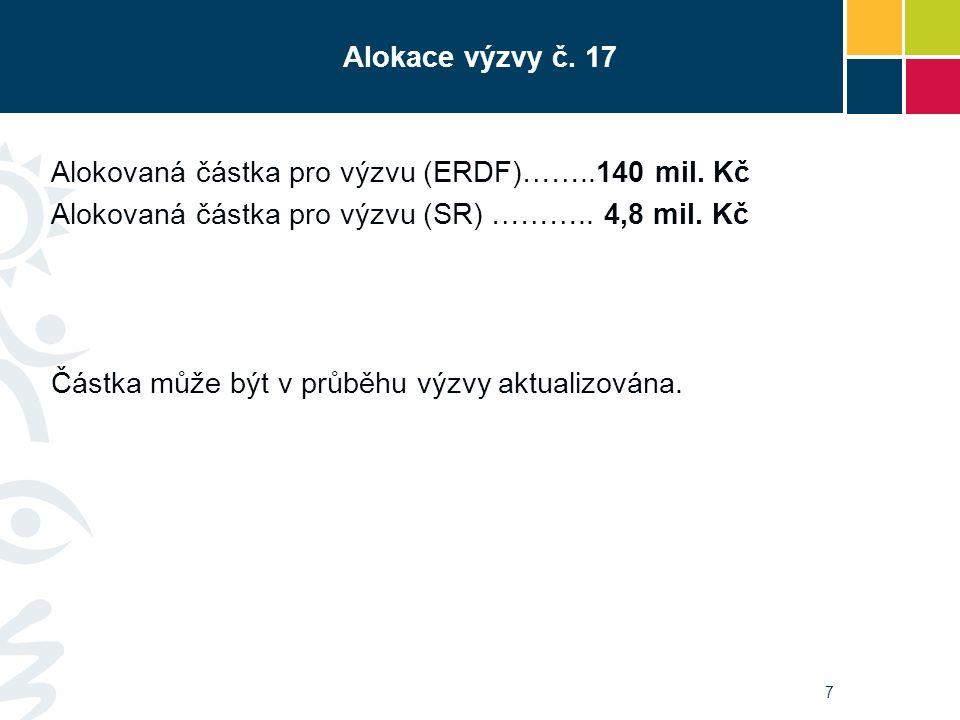 Alokace výzvy č. 17 Alokovaná částka pro výzvu (ERDF)……..140 mil.