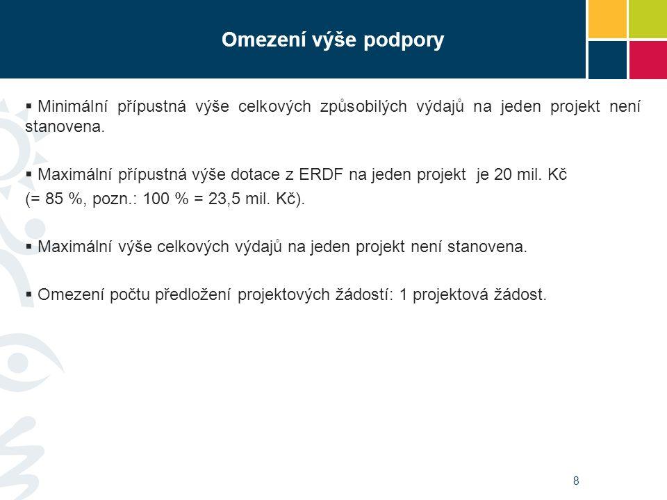 9 Struktura financování způsobilých výdajů projektu PříjemceERDF Národní veřejné zdroje SR Ostatní národní veřejné zdroje MZ ČR85 %15 %- PO MZ ČR85 %15 % POZOR.