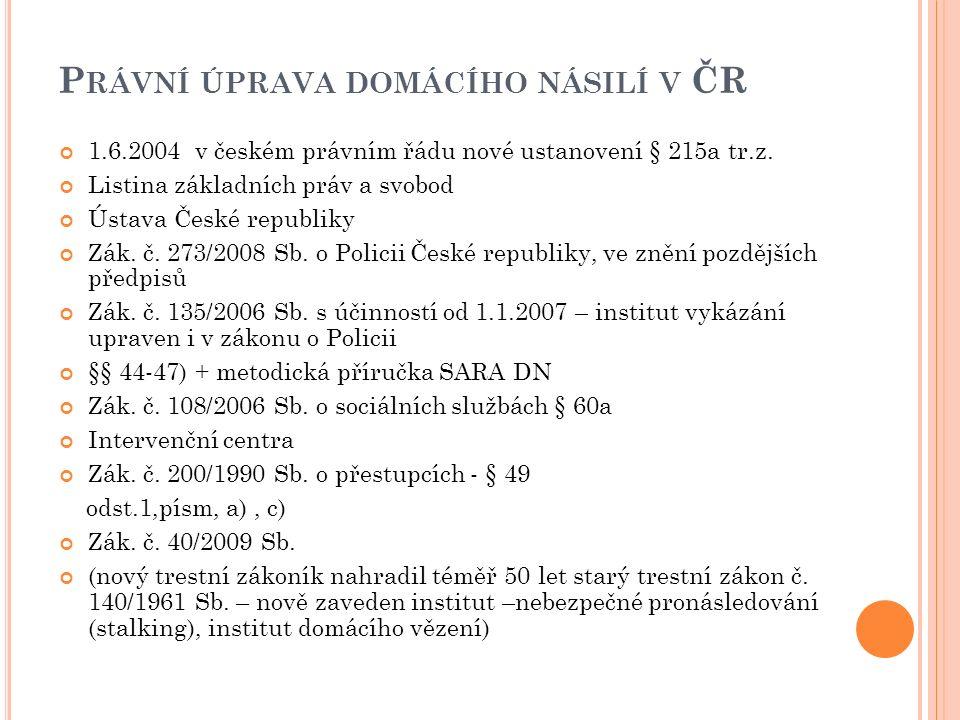 P RÁVNÍ ÚPRAVA DOMÁCÍHO NÁSILÍ V ČR 1.6.2004 v českém právním řádu nové ustanovení § 215a tr.z.