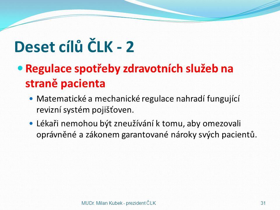 Deset cílů ČLK - 2 Regulace spotřeby zdravotních služeb na straně pacienta Matematické a mechanické regulace nahradí fungující revizní systém pojišťoven.