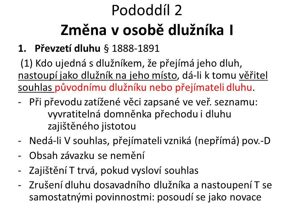 Pododdíl 2 Změna v osobě dlužníka II 2.