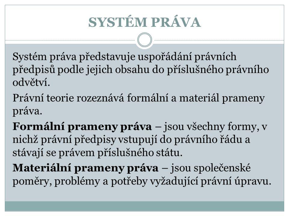 SYSTÉM PRÁVA Systém práva představuje uspořádání právních předpisů podle jejich obsahu do příslušného právního odvětví.