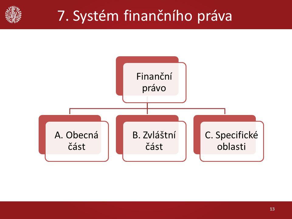 7. Systém finančního práva 13 Finanční právo A. Obecná část B. Zvláštní část C. Specifické oblasti