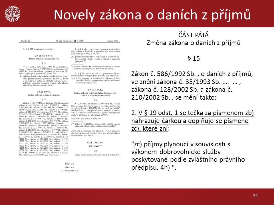 Novely zákona o daních z příjmů 22 ČÁST PÁTÁ Změna zákona o daních z příjmů § 15 Zákon č.