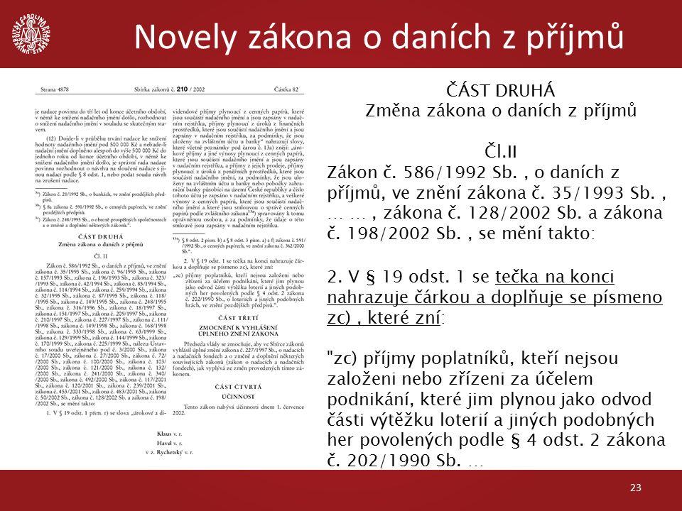 Novely zákona o daních z příjmů 23 ČÁST DRUHÁ Změna zákona o daních z příjmů Čl.II Zákon č.