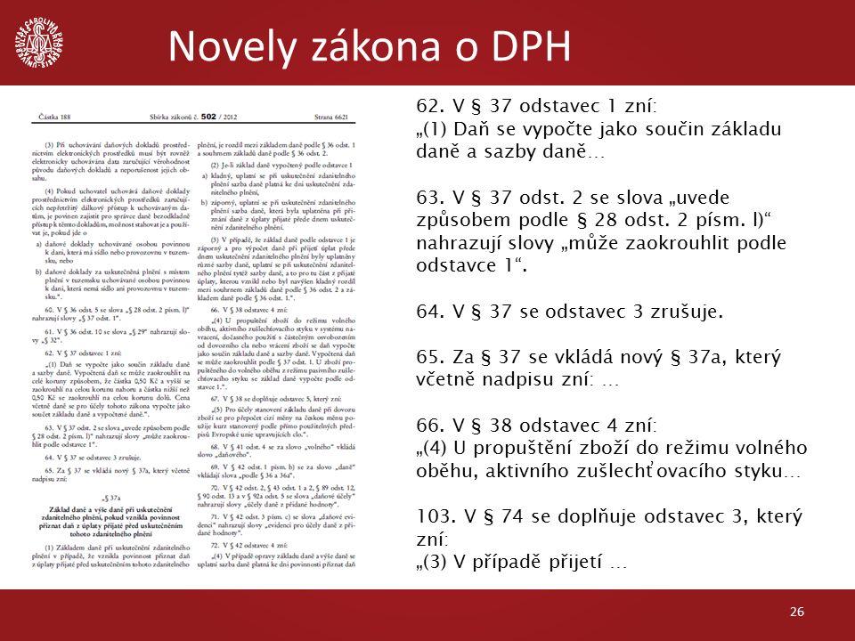 Novely zákona o DPH 26 62.