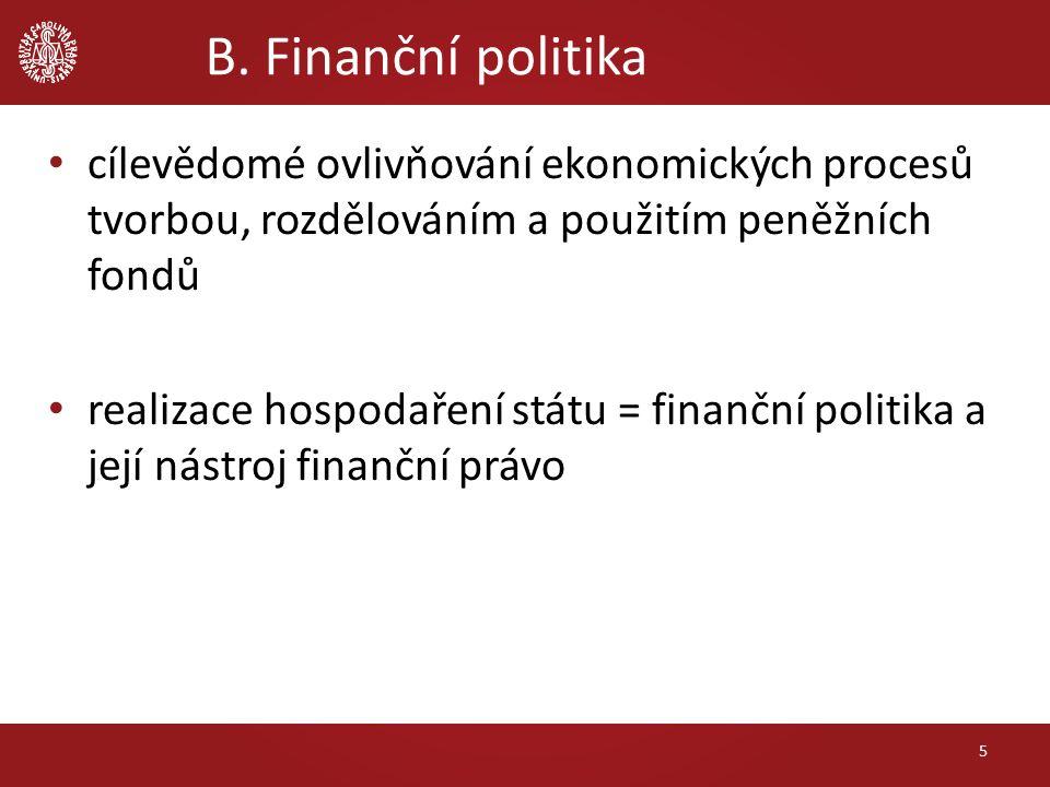 B. Finanční politika cílevědomé ovlivňování ekonomických procesů tvorbou, rozdělováním a použitím peněžních fondů realizace hospodaření státu = finanč