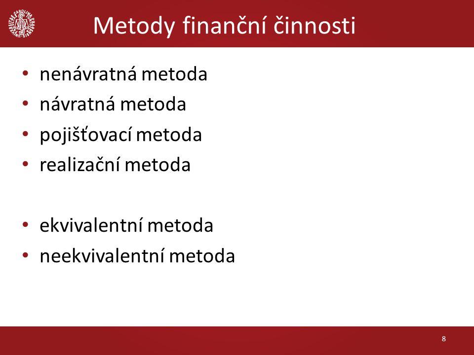 Metody finanční činnosti nenávratná metoda návratná metoda pojišťovací metoda realizační metoda ekvivalentní metoda neekvivalentní metoda 8