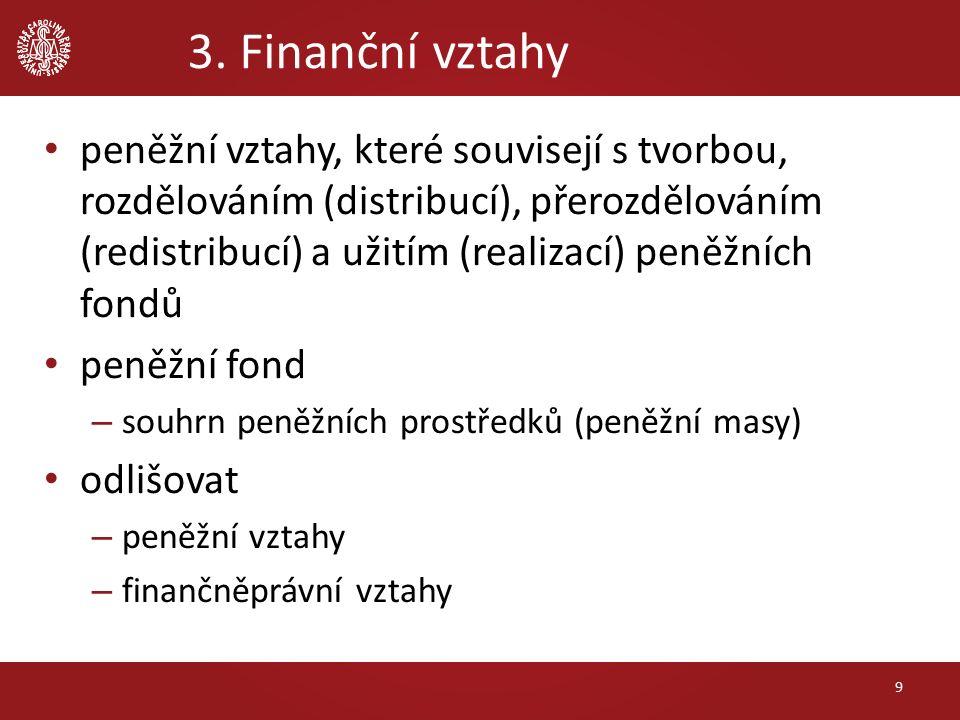 3. Finanční vztahy 9 peněžní vztahy, které souvisejí s tvorbou, rozdělováním (distribucí), přerozdělováním (redistribucí) a užitím (realizací) peněžní