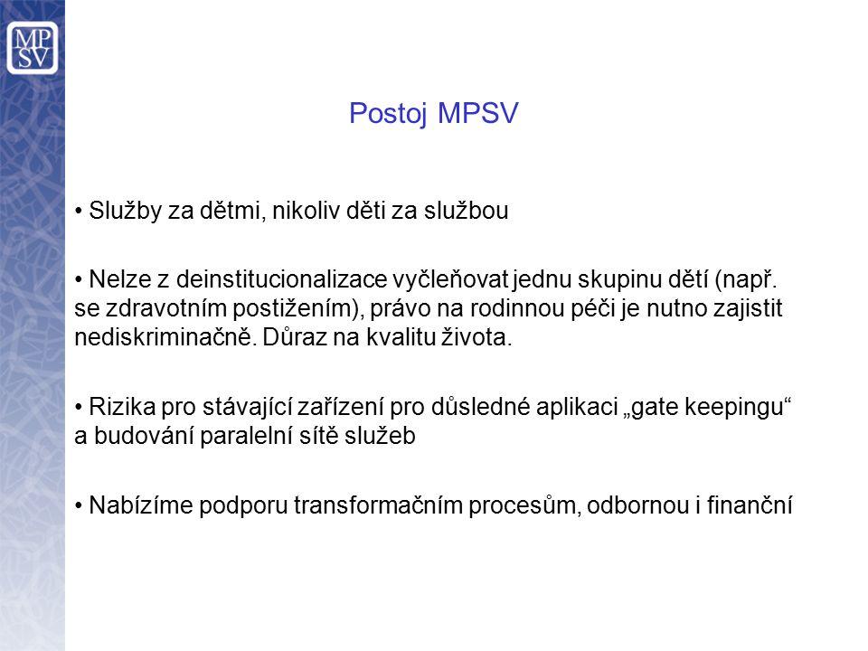 Postoj MPSV Služby za dětmi, nikoliv děti za službou Nelze z deinstitucionalizace vyčleňovat jednu skupinu dětí (např. se zdravotním postižením), práv