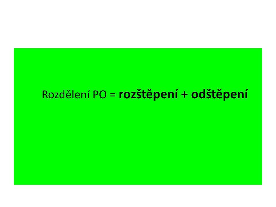 Rozdělení PO = rozštěpení + odštěpení