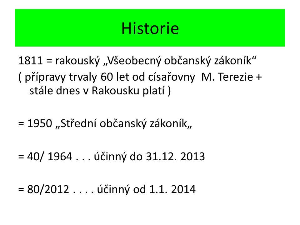 """Historie 1811 = rakouský """"Všeobecný občanský zákoník ( přípravy trvaly 60 let od císařovny M."""