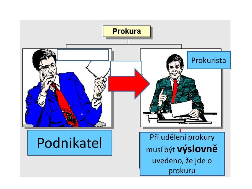 Podnikatel Prokurista Při udělení prokury musí být výslovně uvedeno, že jde o prokuru