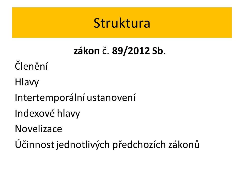 Struktura zákon č. 89/2012 Sb.