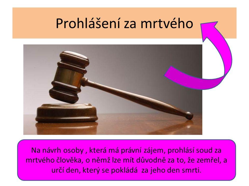 Prohlášení za mrtvého Na návrh osoby, která má právní zájem, prohlásí soud za mrtvého člověka, o němž lze mít důvodně za to, že zemřel, a určí den, který se pokládá za jeho den smrti.