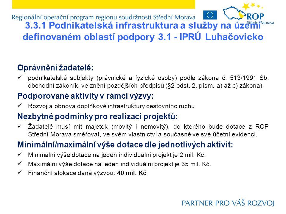 3.3.1 Podnikatelská infrastruktura a služby na území definovaném oblastí podpory 3.1 - IPRÚ Luhačovicko Oprávnění žadatelé: podnikatelské subjekty (právnické a fyzické osoby) podle zákona č.