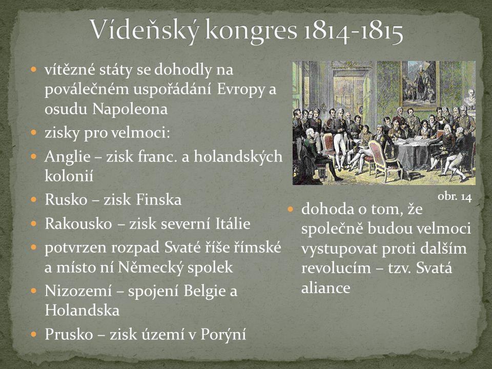 vítězné státy se dohodly na poválečném uspořádání Evropy a osudu Napoleona zisky pro velmoci: Anglie – zisk franc.