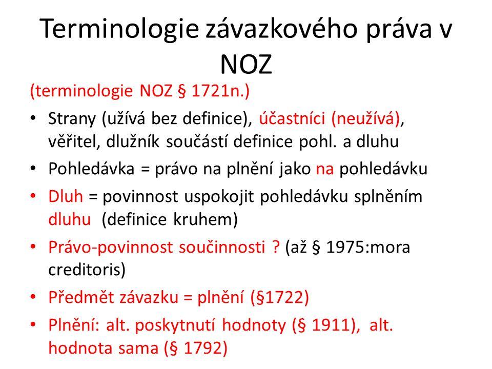 Terminologie závazkového práva v NOZ (terminologie NOZ § 1721n.) Strany (užívá bez definice), účastníci (neužívá), věřitel, dlužník součástí definice