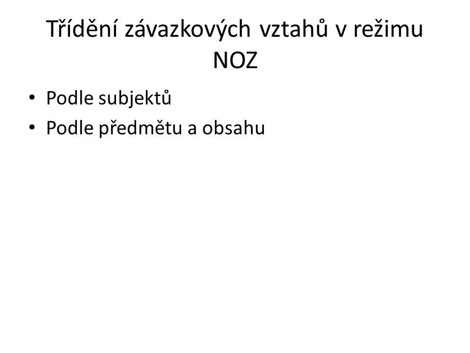 Třídění závazkových vztahů v režimu NOZ Podle subjektů Podle předmětu a obsahu