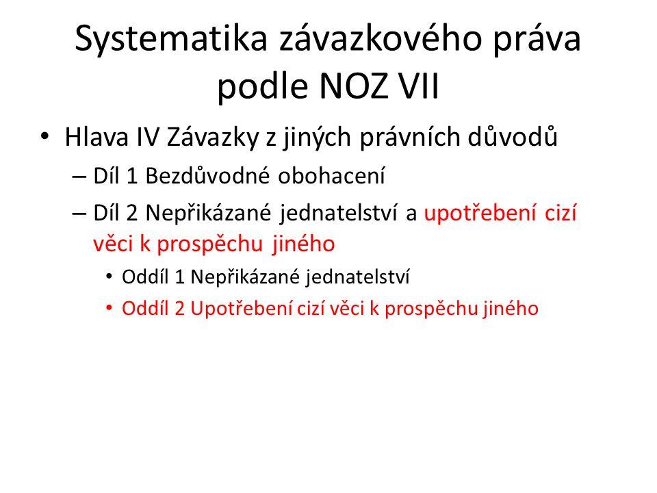 Systematika závazkového práva podle NOZ VII Hlava IV Závazky z jiných právních důvodů – Díl 1 Bezdůvodné obohacení – Díl 2 Nepřikázané jednatelství a