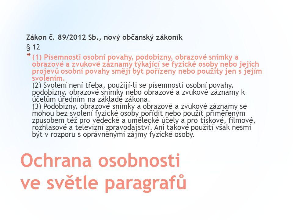 Ochrana osobnosti ve světle paragrafů Zákon č.