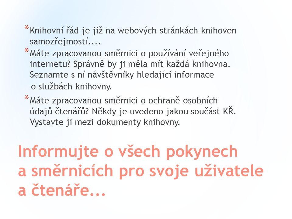 Knihovna městyse Lysic * http://www.lysickaknihovna.cz/ http://www.lysickaknihovna.cz/ * Fotogalerie knihovny – střídání fotografií interiérů * Upozornění * Přehled odebíraných časopisů * Zajímavý design stránek (knihovna chce zaujmout) * Pozornost dětskému i dospělému oddělení