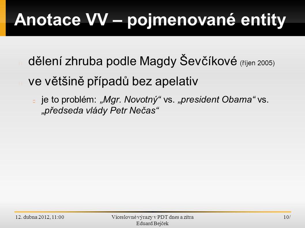 12. dubna 2012, 11:00Víceslovné výrazy v PDT dnes a zítra Eduard Bejček 10/ Anotace VV – pojmenované entity dělení zhruba podle Magdy Ševčíkové (říjen