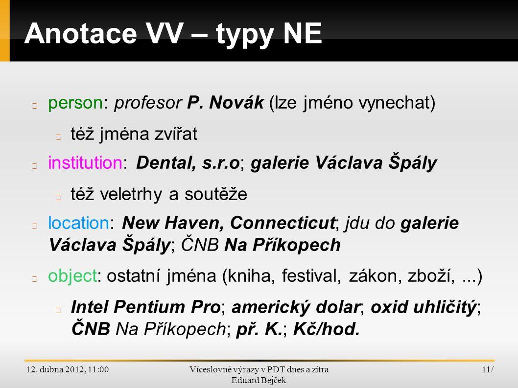 12. dubna 2012, 11:00Víceslovné výrazy v PDT dnes a zítra Eduard Bejček 11/ Anotace VV – typy NE person: profesor P. Novák (lze jméno vynechat) též jm