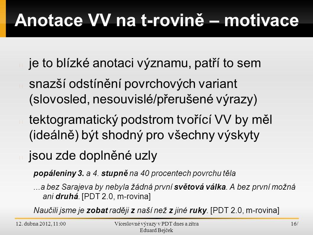 12. dubna 2012, 11:00Víceslovné výrazy v PDT dnes a zítra Eduard Bejček 16/ Anotace VV na t-rovině – motivace je to blízké anotaci významu, patří to s
