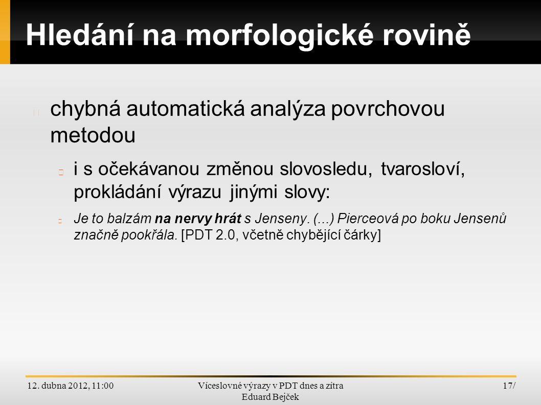 12. dubna 2012, 11:00Víceslovné výrazy v PDT dnes a zítra Eduard Bejček 17/ Hledání na morfologické rovině chybná automatická analýza povrchovou metod