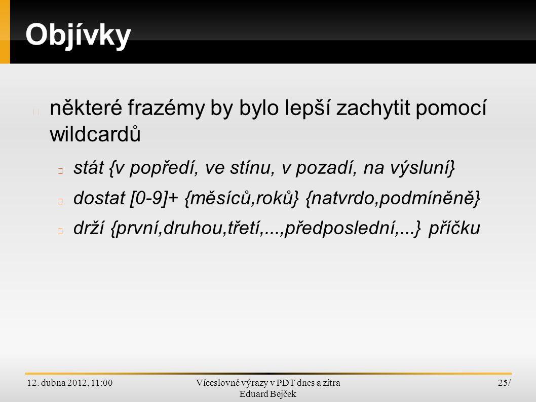12. dubna 2012, 11:00Víceslovné výrazy v PDT dnes a zítra Eduard Bejček 25/ Objívky některé frazémy by bylo lepší zachytit pomocí wildcardů stát {v po