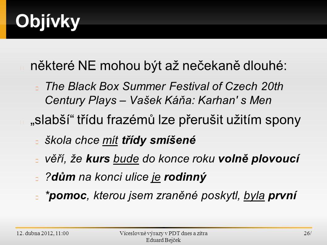 12. dubna 2012, 11:00Víceslovné výrazy v PDT dnes a zítra Eduard Bejček 26/ Objívky některé NE mohou být až nečekaně dlouhé: The Black Box Summer Fest