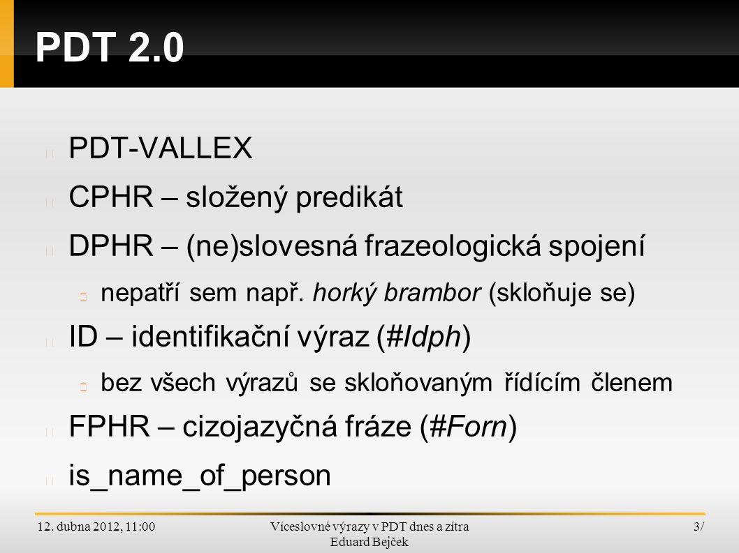 12. dubna 2012, 11:00Víceslovné výrazy v PDT dnes a zítra Eduard Bejček 3/3/ PDT 2.0 PDT-VALLEX CPHR – složený predikát DPHR – (ne)slovesná frazeologi