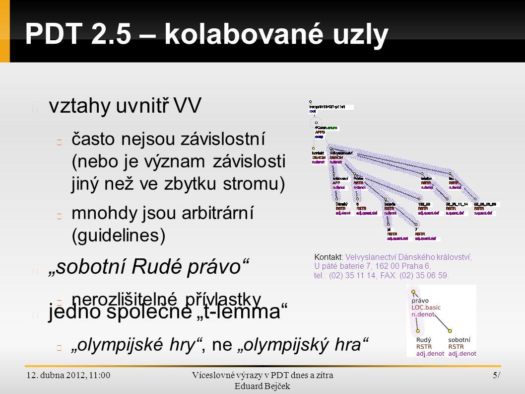 """12. dubna 2012, 11:00Víceslovné výrazy v PDT dnes a zítra Eduard Bejček 5/5/ PDT 2.5 – kolabované uzly jedno společné """"t-lemma"""" """"olympijské hry"""", ne """""""