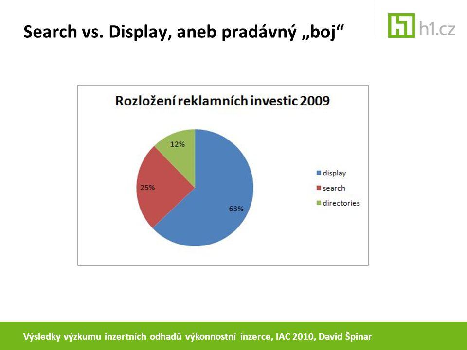 """Search vs. Display, aneb pradávný """"boj"""" Výsledky výzkumu inzertních odhadů výkonnostní inzerce, IAC 2010, David Špinar"""