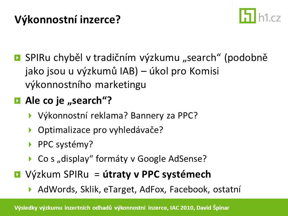 """Výkonnostní inzerce? SPIRu chyběl v tradičním výzkumu """"search"""" (podobně jako jsou u výzkumů IAB) – úkol pro Komisi výkonnostního marketingu Ale co je"""