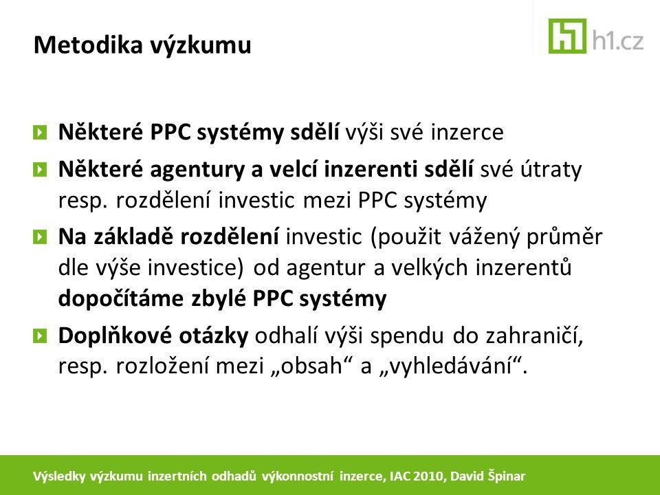 Metodika výzkumu Některé PPC systémy sdělí výši své inzerce Některé agentury a velcí inzerenti sdělí své útraty resp. rozdělení investic mezi PPC syst