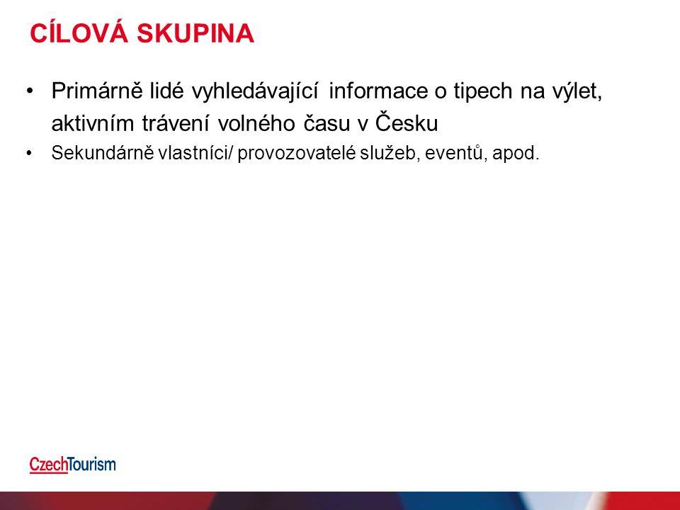 CÍLOVÁ SKUPINA Primárně lidé vyhledávající informace o tipech na výlet, aktivním trávení volného času v Česku Sekundárně vlastníci/ provozovatelé služ