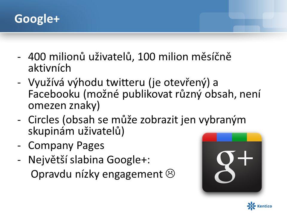 Google+ -400 milionů uživatelů, 100 milion měsíčně aktivních -Využívá výhodu twitteru (je otevřený) a Facebooku (možné publikovat různý obsah, není omezen znaky) -Circles (obsah se může zobrazit jen vybraným skupinám uživatelů) -Company Pages -Největší slabina Google+: Opravdu nízky engagement 